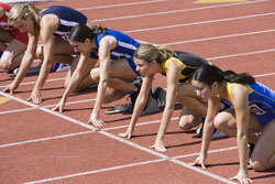 Female track athletes
