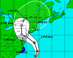 Path of Hurricane Sandy as of October 28 at 5pm EDT
