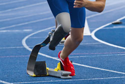Runner with carbon prosthetic leg
